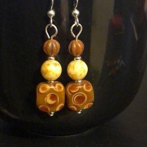 🐐Czech glass earrings brown dots